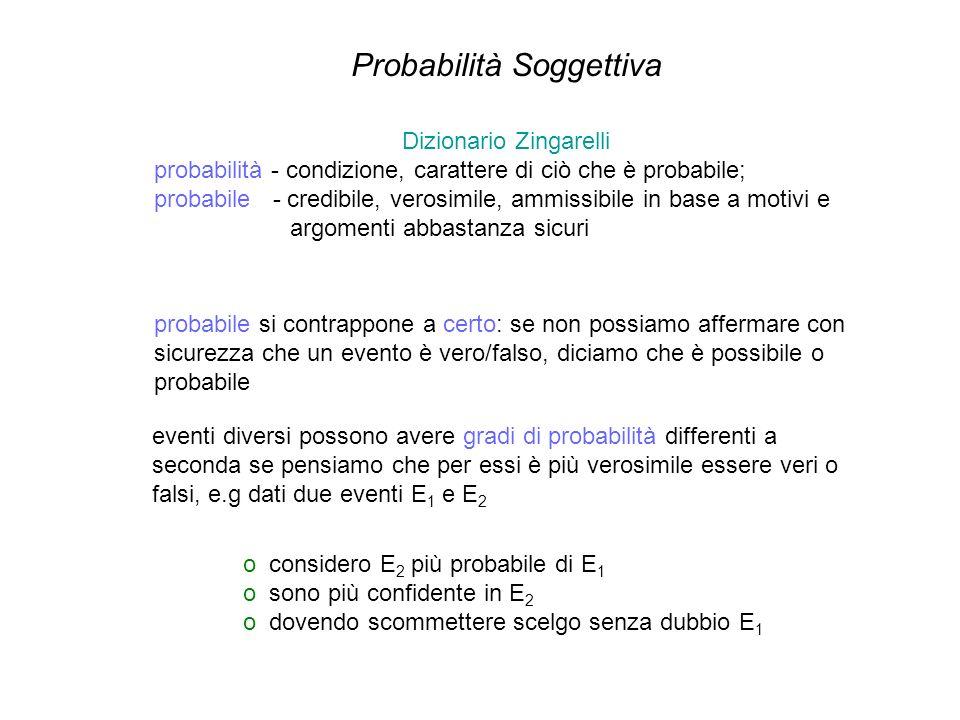 Dizionario Zingarelli probabilità - condizione, carattere di ciò che è probabile; probabile - credibile, verosimile, ammissibile in base a motivi e ar