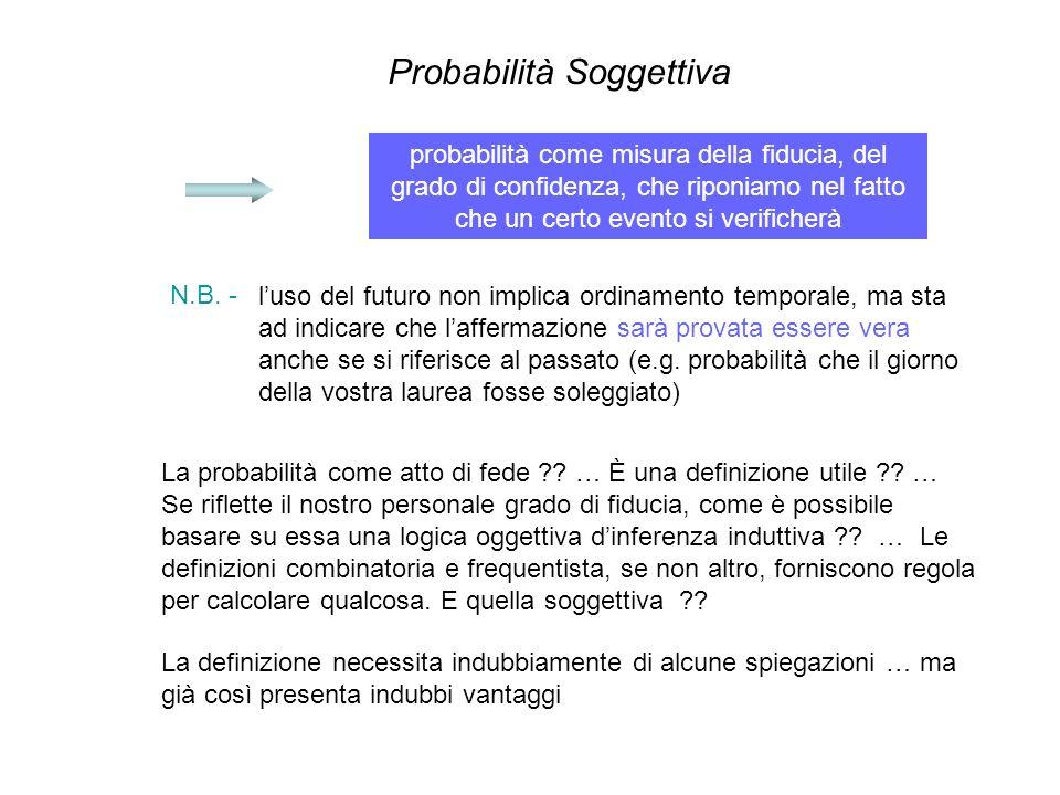 Probabilità Soggettiva probabilità come misura della fiducia, del grado di confidenza, che riponiamo nel fatto che un certo evento si verificherà luso