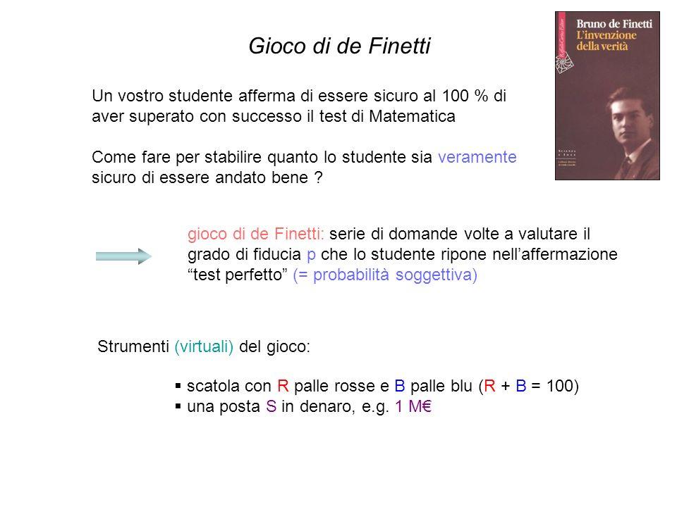 Gioco di de Finetti Un vostro studente afferma di essere sicuro al 100 % di aver superato con successo il test di Matematica Come fare per stabilire q