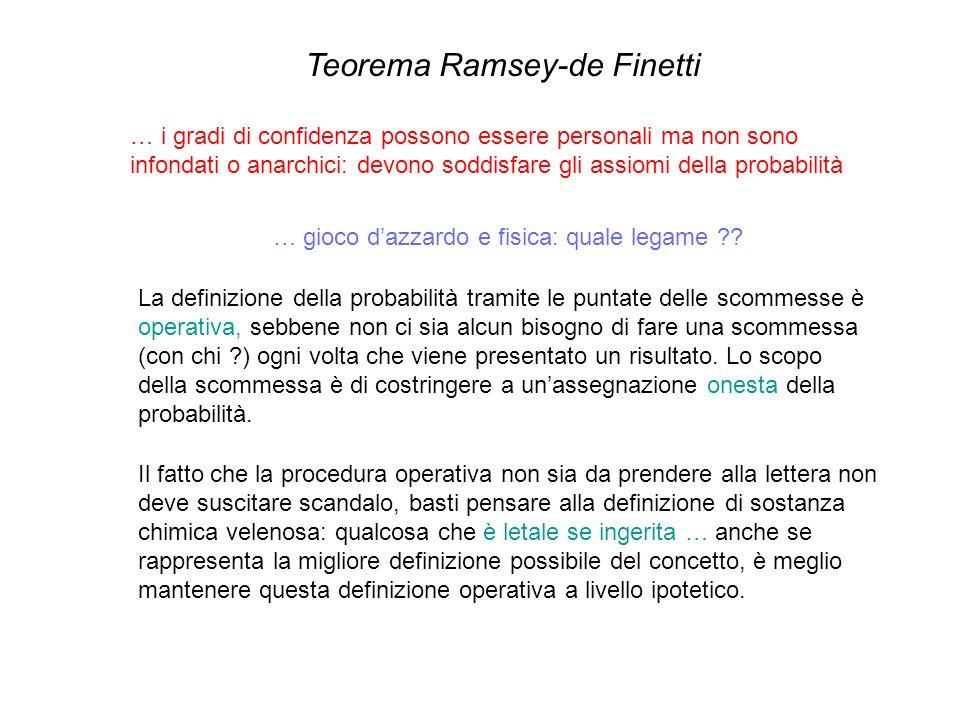 Teorema Ramsey-de Finetti … i gradi di confidenza possono essere personali ma non sono infondati o anarchici: devono soddisfare gli assiomi della prob