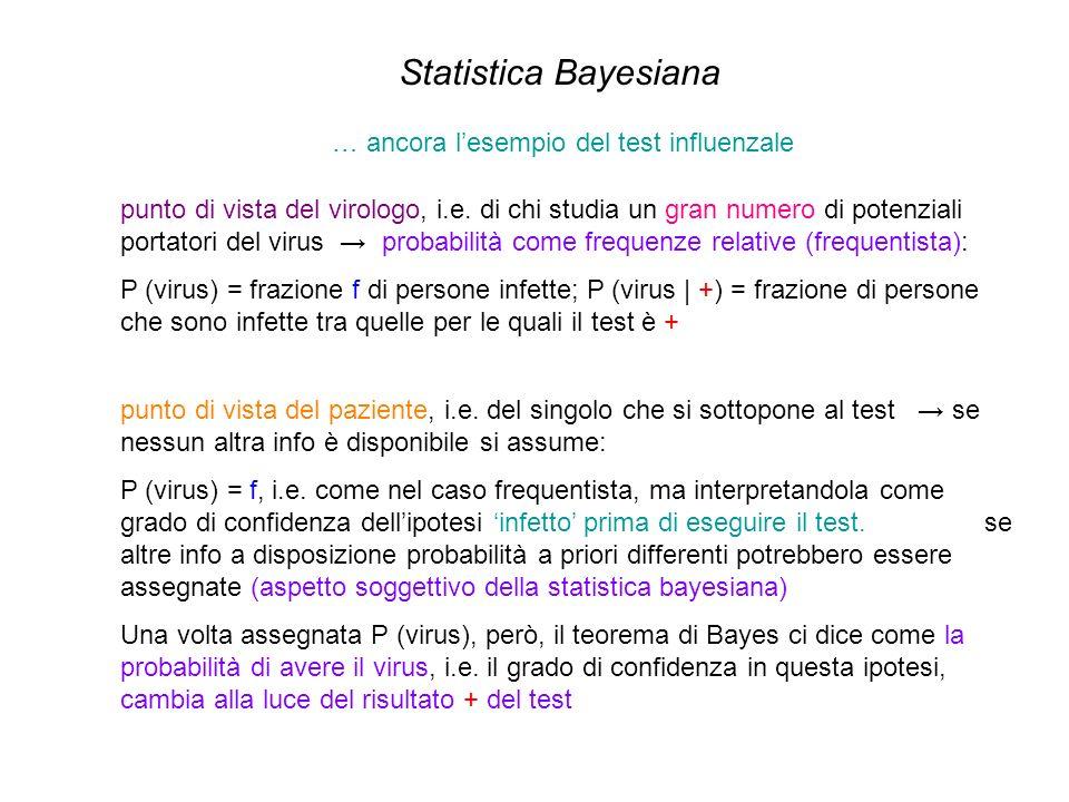 Statistica Bayesiana … ancora lesempio del test influenzale punto di vista del virologo, i.e. di chi studia un gran numero di potenziali portatori del