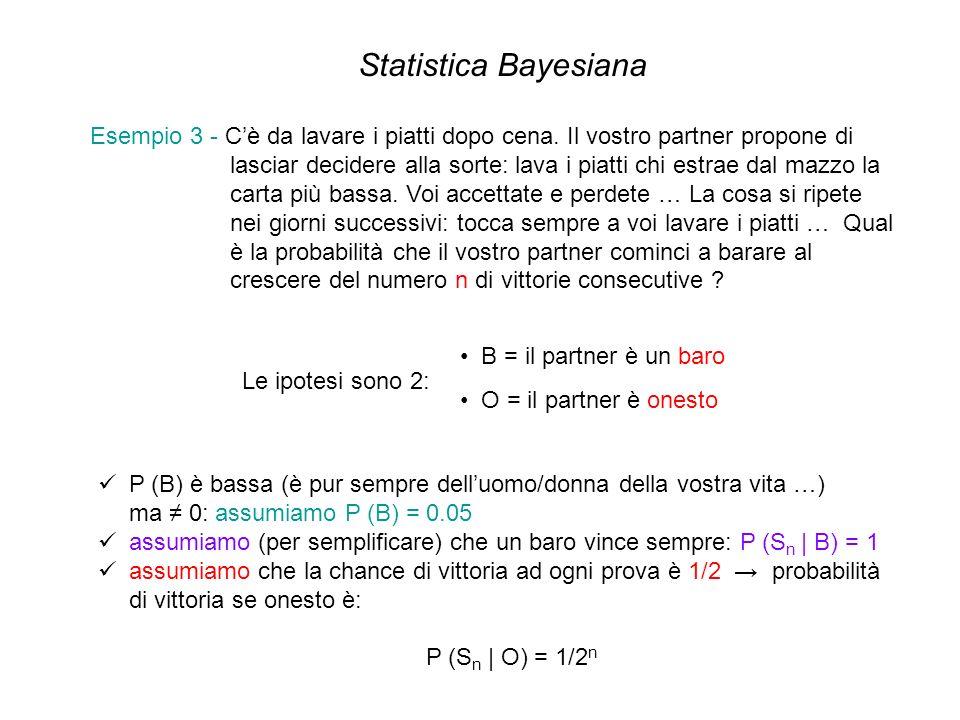 Statistica Bayesiana Esempio 3 - Cè da lavare i piatti dopo cena. Il vostro partner propone di lasciar decidere alla sorte: lava i piatti chi estrae d