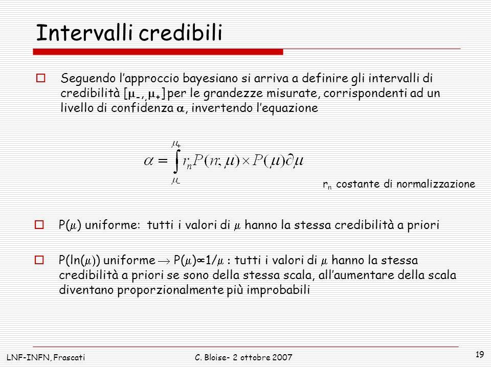 LNF-INFN, FrascatiC. Bloise- 2 ottobre 2007 19 Intervalli credibili Seguendo lapproccio bayesiano si arriva a definire gli intervalli di credibilità [