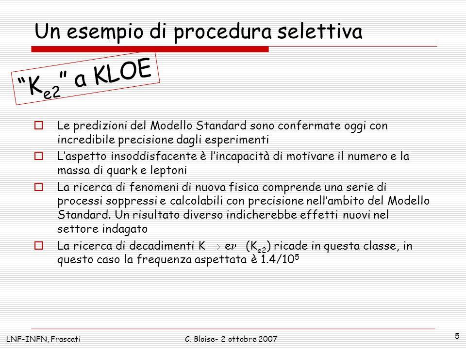 Ricerca di nuova fisica: K e2 a KLOE M 2 lep (MeV 2 ) MC K e2 MC K 2 e E1E1 E2E2 E5E5 Cluster depth Calorimeter Sperimentalmente bisogna identificare questi eventi, isolandoli dal canale 40,000 volte più frequente K (K 2 ) Gli eventi sono caratterizzati a KLOE da impulsi diversi dei secondari carichi.