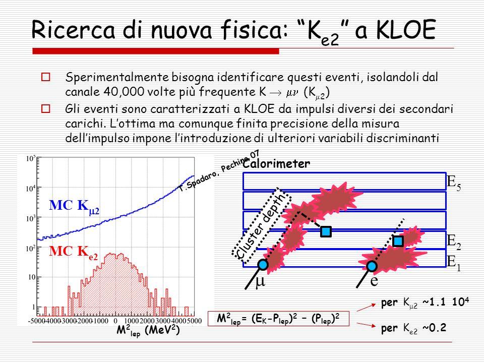 Ricerca di nuova fisica: K e2 a KLOE M 2 lep (MeV 2 ) MC K e2 MC K 2 e E1E1 E2E2 E5E5 Cluster depth Calorimeter Sperimentalmente bisogna identificare