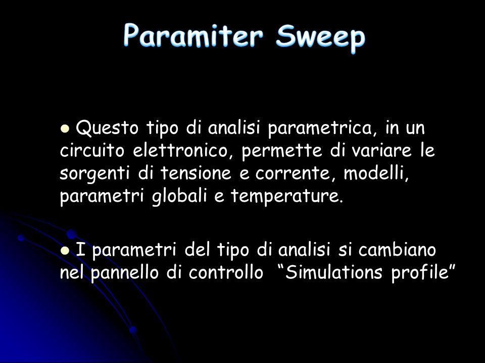 Questo tipo di analisi parametrica, in un circuito elettronico, permette di variare le sorgenti di tensione e corrente, modelli, parametri globali e t