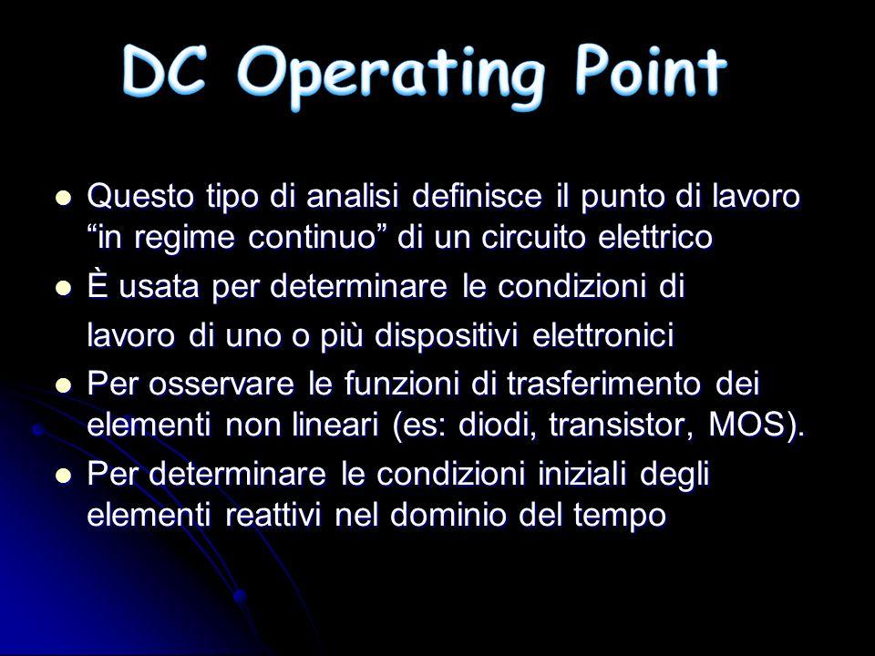 Questo tipo di analisi definisce il punto di lavoro in regime continuo di un circuito elettrico Questo tipo di analisi definisce il punto di lavoro in