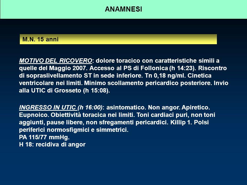M.N. 15 anni MOTIVO DEL RICOVERO: dolore toracico con caratteristiche simili a quelle del Maggio 2007. Accesso al PS di Follonica (h 14:23). Riscontro