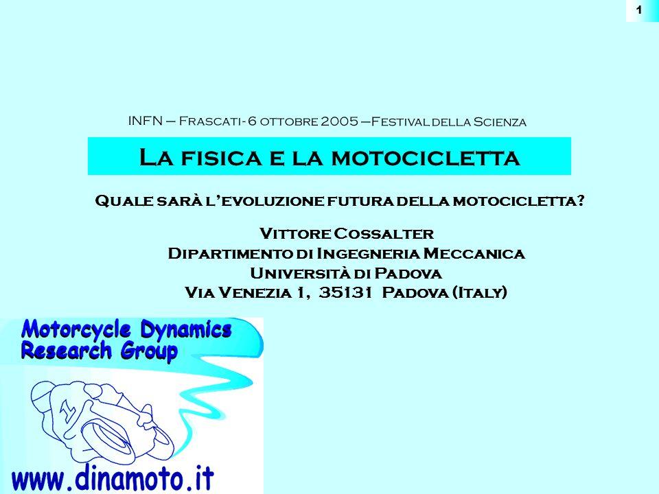 www.dinamoto.it INFN – Frascati - 6 ottobre 2005 –La Fisica e la Motocicletta 12 Posizione dellasse di rotazione Offset dellasse che dipende dalla geometria del quadrilatero Rotazione dellasse che dipende dallorientazione del quadrilatero Veicoli rollanti con tre ruote