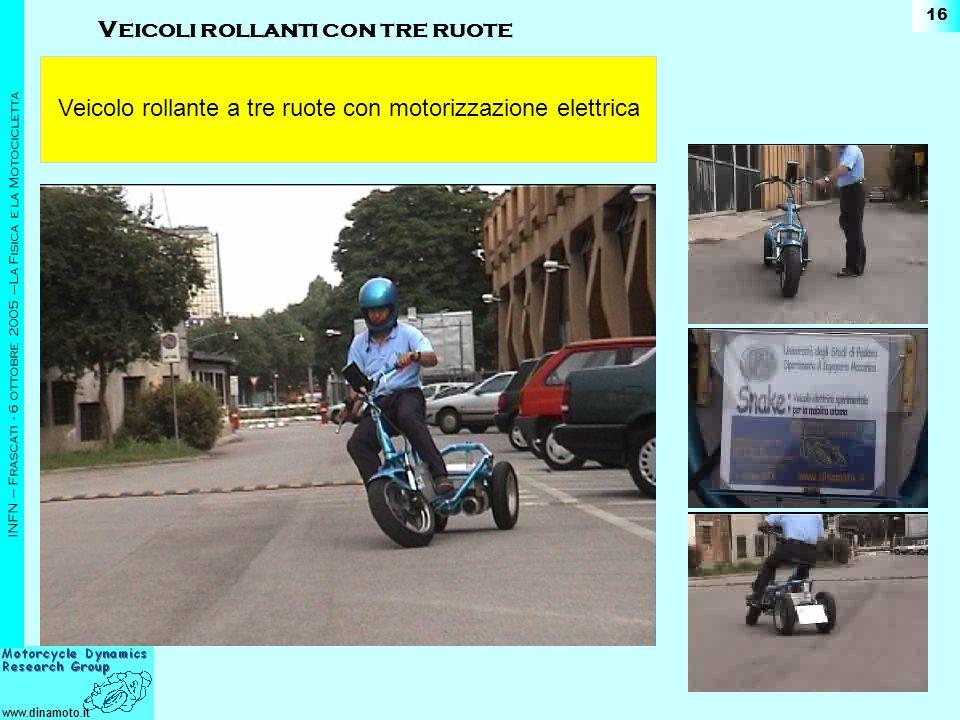 www.dinamoto.it INFN – Frascati - 6 ottobre 2005 –La Fisica e la Motocicletta 16 Veicolo rollante a tre ruote con motorizzazione elettrica Veicoli rol