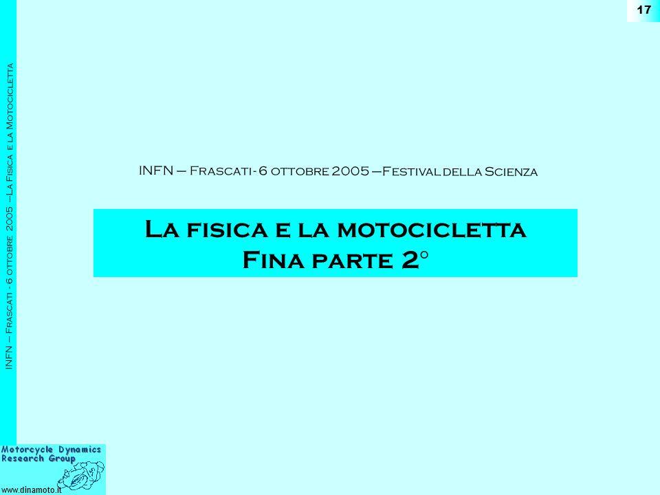 www.dinamoto.it INFN – Frascati - 6 ottobre 2005 –La Fisica e la Motocicletta 17 La fisica e la motocicletta Fina parte 2 ° INFN – Frascati - 6 ottobr