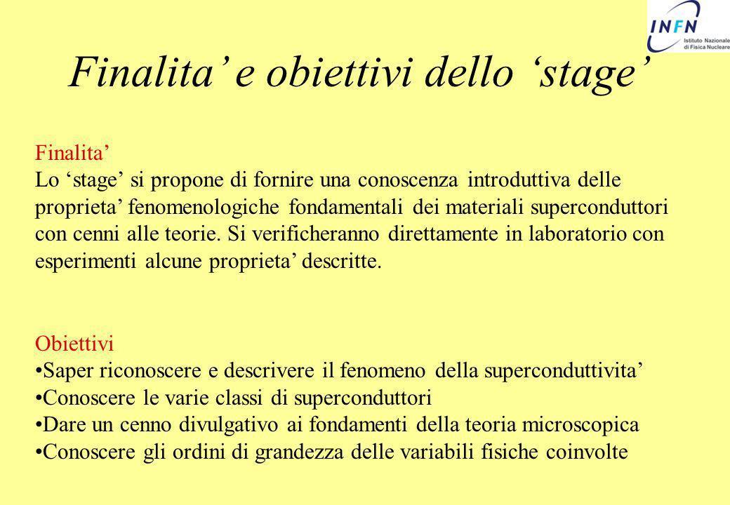 Finalita e obiettivi dello stage Finalita Lo stage si propone di fornire una conoscenza introduttiva delle proprieta fenomenologiche fondamentali dei