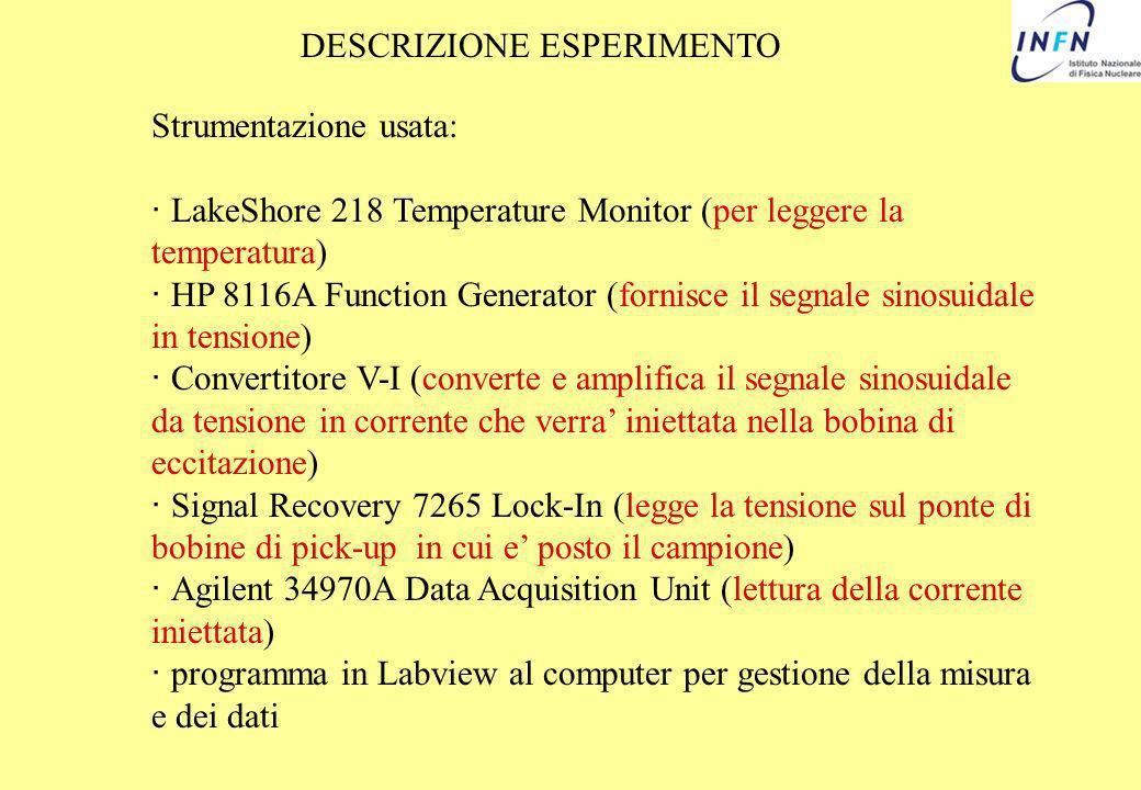DESCRIZIONE ESPERIMENTO Strumentazione usata: · LakeShore 218 Temperature Monitor (per leggere la temperatura) · HP 8116A Function Generator (fornisce
