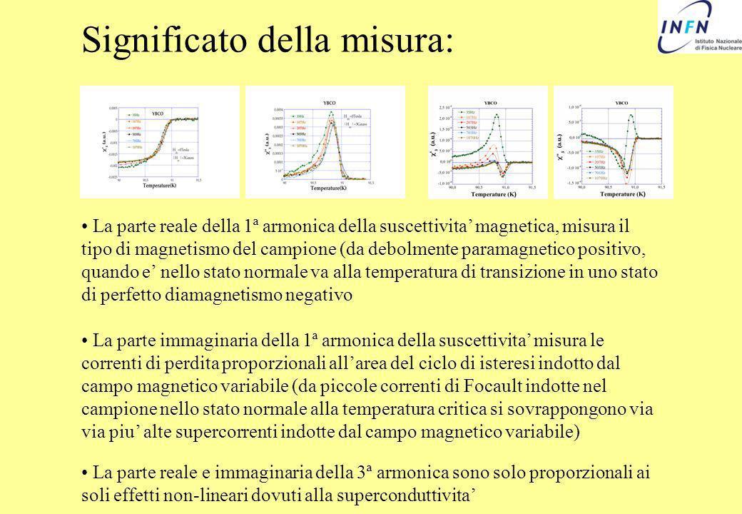 Significato della misura: La parte reale della 1ª armonica della suscettivita magnetica, misura il tipo di magnetismo del campione (da debolmente para