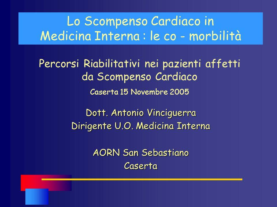 Lo Scompenso Cardiaco in Medicina Interna : le co - morbilità Dott. Antonio Vinciguerra Dirigente U.O. Medicina Interna AORN San Sebastiano Caserta Pe