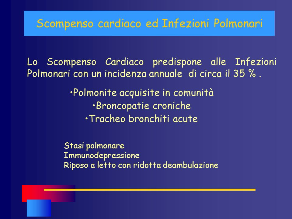 Scompenso cardiaco ed Infezioni Polmonari Lo Scompenso Cardiaco predispone alle Infezioni Polmonari con un incidenza annuale di circa il 35 %. Polmoni