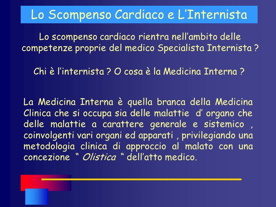 Lo scompenso cardiaco rientra nellambito delle competenze proprie del medico Specialista Internista ? Lo Scompenso Cardiaco e LInternista La Medicina