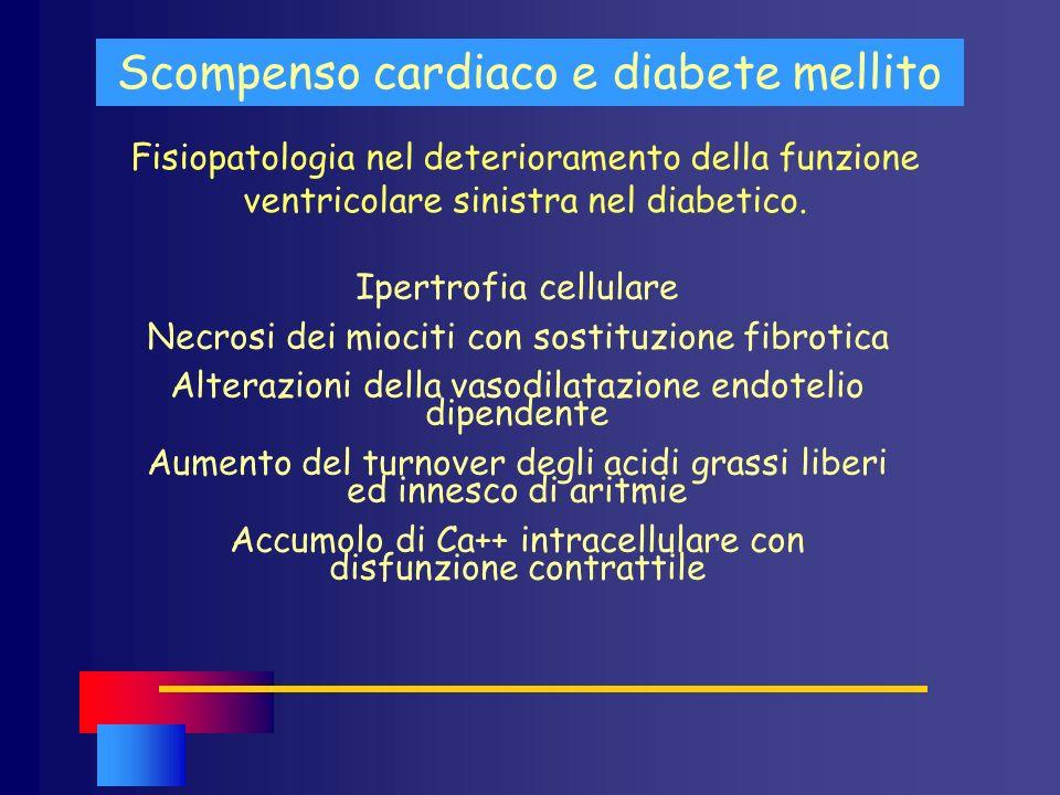 Fisiopatologia nel deterioramento della funzione ventricolare sinistra nel diabetico. Scompenso cardiaco e diabete mellito Ipertrofia cellulare Necros