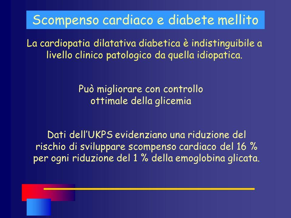 La cardiopatia dilatativa diabetica è indistinguibile a livello clinico patologico da quella idiopatica. Scompenso cardiaco e diabete mellito Può migl