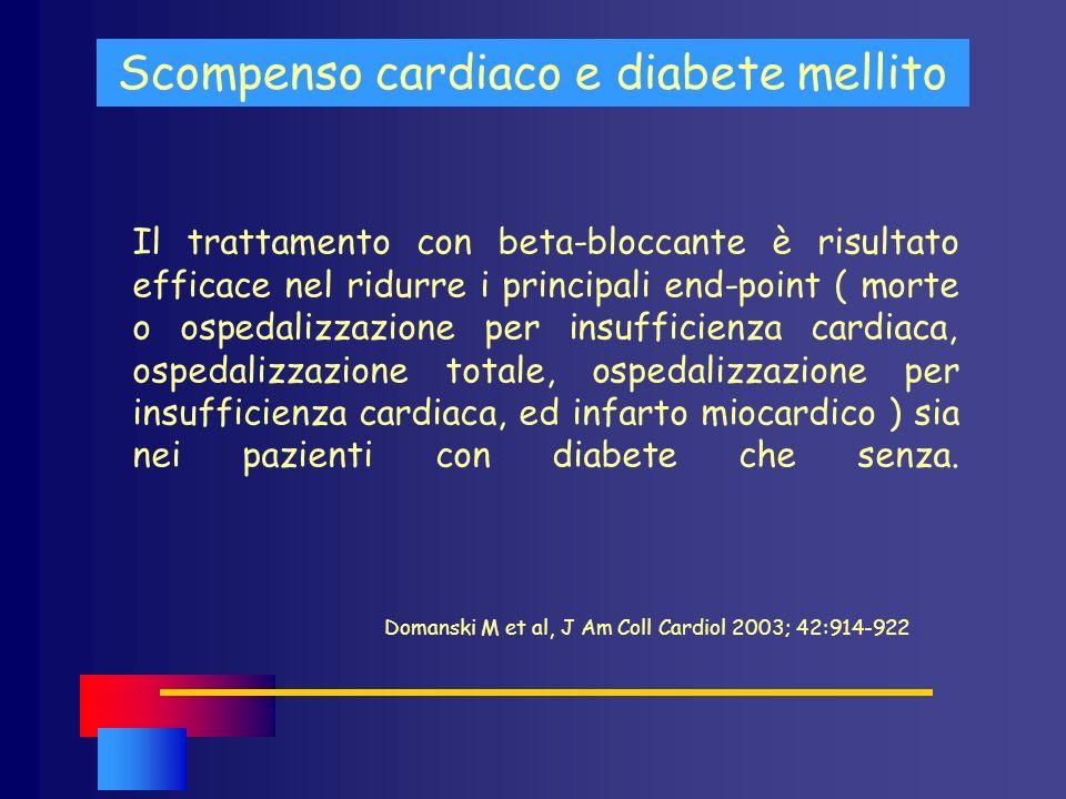 Scompenso cardiaco e diabete mellito Il trattamento con beta-bloccante è risultato efficace nel ridurre i principali end-point ( morte o ospedalizzazi