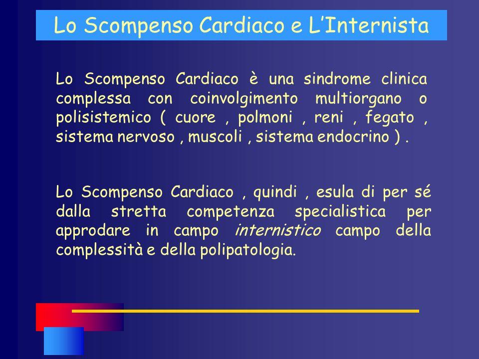 Lo Scompenso Cardiaco è una sindrome clinica complessa con coinvolgimento multiorgano o polisistemico ( cuore, polmoni, reni, fegato, sistema nervoso,