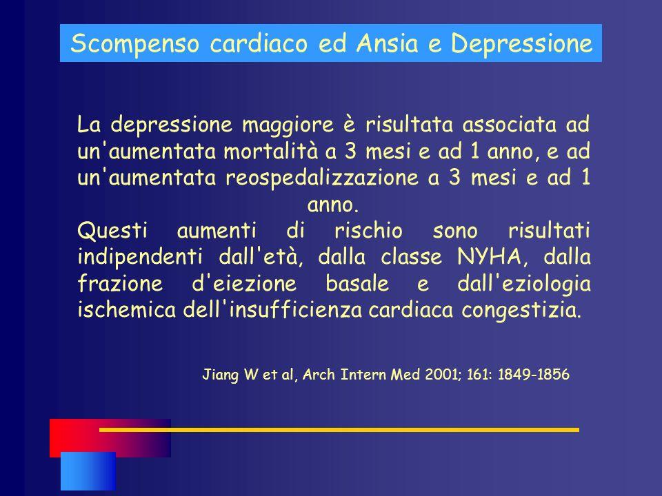 Scompenso cardiaco ed Ansia e Depressione La depressione maggiore è risultata associata ad un'aumentata mortalità a 3 mesi e ad 1 anno, e ad un'aument