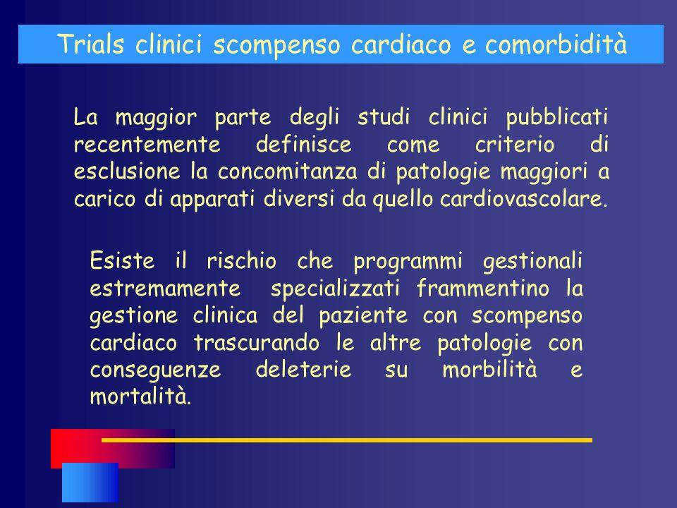 La maggior parte degli studi clinici pubblicati recentemente definisce come criterio di esclusione la concomitanza di patologie maggiori a carico di a
