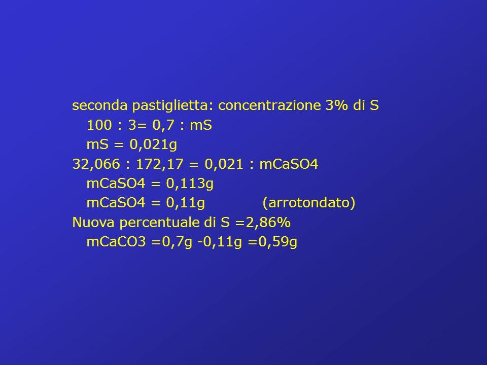 seconda pastiglietta: concentrazione 3% di S 100 : 3= 0,7 : mS mS = 0,021g 32,066 : 172,17 = 0,021 : mCaSO4 mCaSO4 = 0,113g mCaSO4 = 0,11g (arrotondato) Nuova percentuale di S =2,86% mCaCO3 =0,7g -0,11g =0,59g