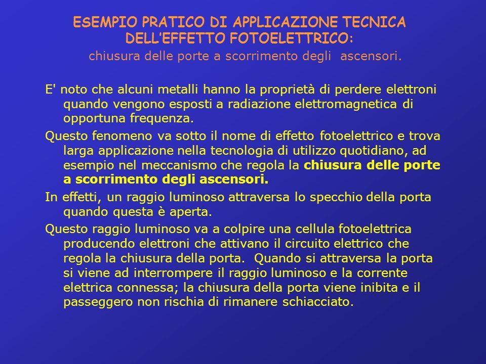 ESEMPIO PRATICO DI APPLICAZIONE TECNICA DELLEFFETTO FOTOELETTRICO: chiusura delle porte a scorrimento degli ascensori.