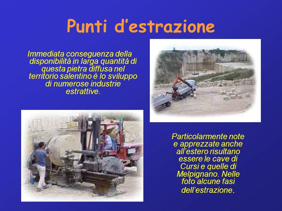Punti destrazione Immediata conseguenza della disponibilità in larga quantità di questa pietra diffusa nel territorio salentino è lo sviluppo di numerose industrie estrattive.