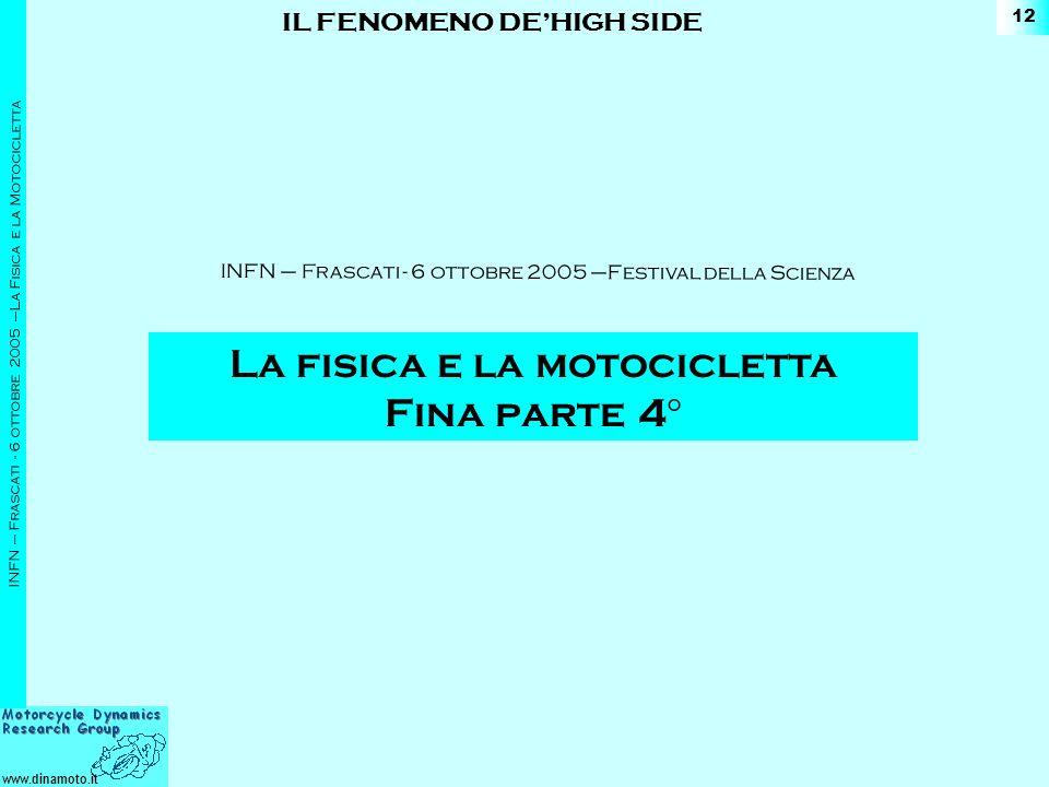 www.dinamoto.it INFN – Frascati - 6 ottobre 2005 –La Fisica e la Motocicletta 12 IL FENOMENO DEHIGH SIDE La fisica e la motocicletta Fina parte 4 ° INFN – Frascati - 6 ottobre 2005 –Festival della Scienza