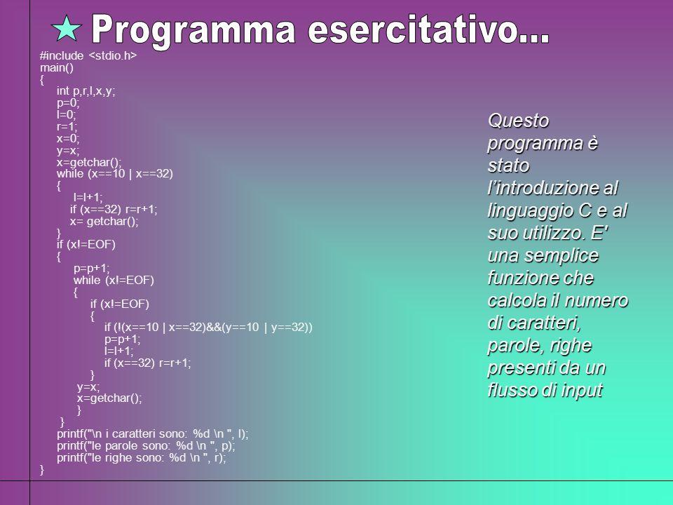 Questo programma è stato lintroduzione al linguaggio C e al suo utilizzo. E' una semplice funzione che calcola il numero di caratteri, parole, righe p