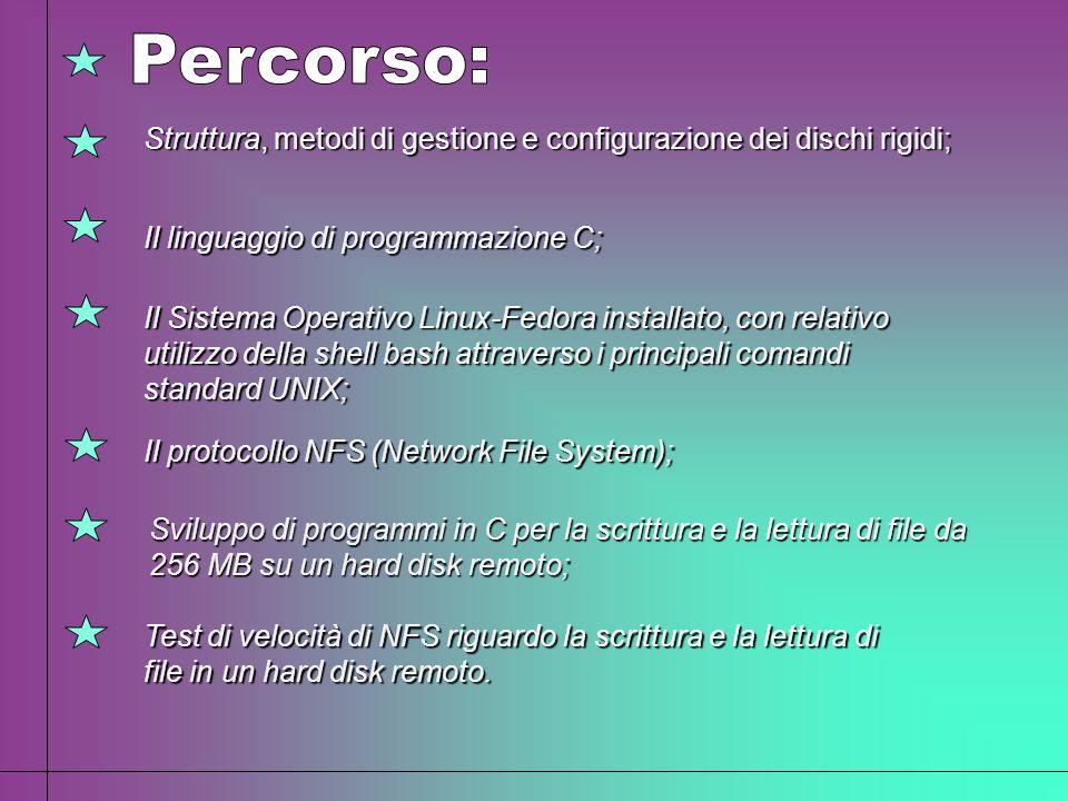 Il linguaggio di programmazione C; Il Sistema Operativo Linux-Fedora installato, con relativo utilizzo della shell bash attraverso i principali comand
