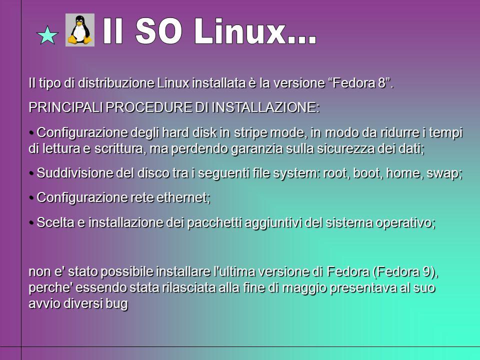 Il tipo di distribuzione Linux installata è la versione Fedora 8. PRINCIPALI PROCEDURE DI INSTALLAZIONE: Configurazione degli hard disk in stripe mode