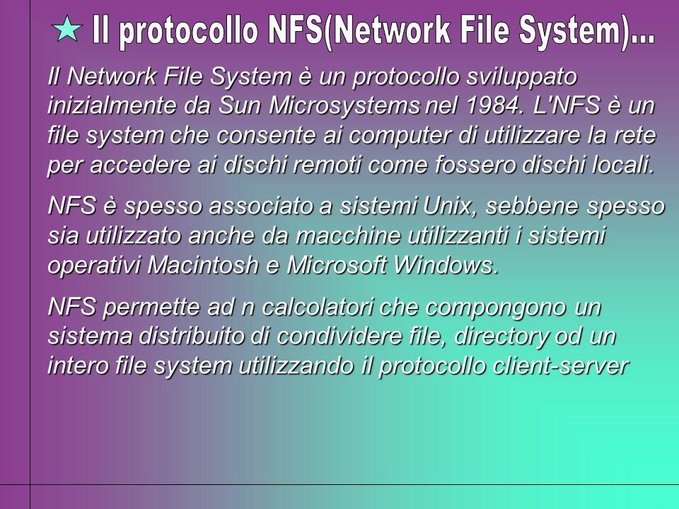 Il Network File System è un protocollo sviluppato inizialmente da Sun Microsystems nel 1984. L'NFS è un file system che consente ai computer di utiliz