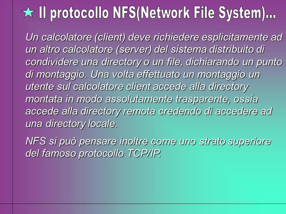 Un calcolatore (client) deve richiedere esplicitamente ad un altro calcolatore (server) del sistema distribuito di condividere una directory o un file