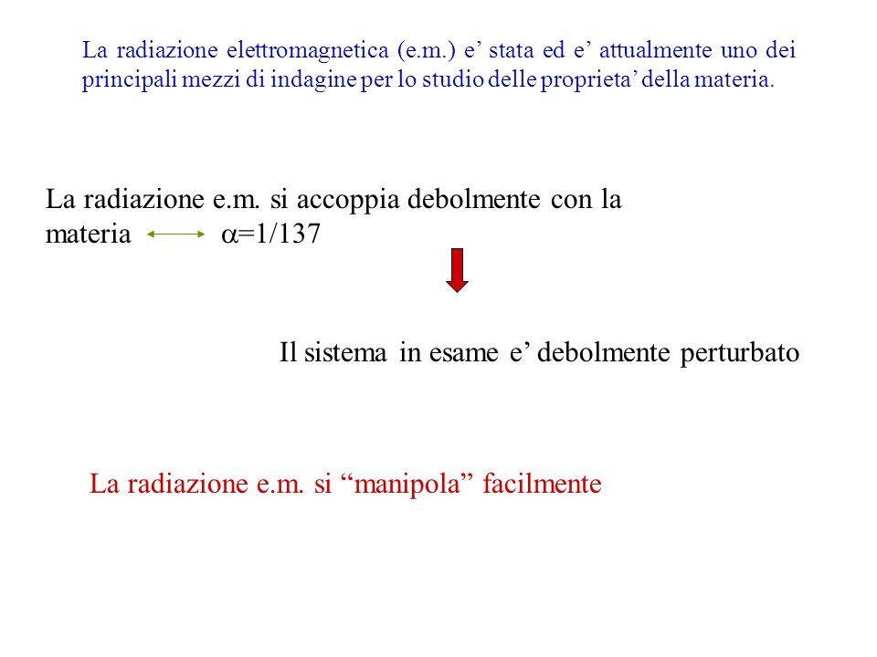 La radiazione elettromagnetica (e.m.) e stata ed e attualmente uno dei principali mezzi di indagine per lo studio delle proprieta della materia. Il si