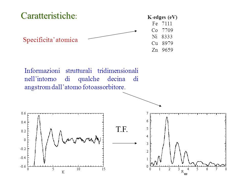 K-edges (eV) Fe 7111 Co 7709 Ni 8333 Cu 8979 Zn 9659 Caratteristiche Caratteristiche : Specificita atomica Informazioni strutturali tridimensionali ne