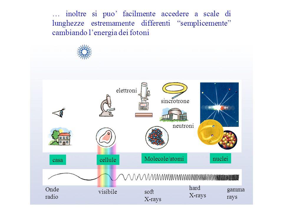 Onde radio visibilesoft X-rays hard X-rays gamma rays casacellule Molecole/atominuclei sincrotrone neutroni elettroni … inoltre si puo facilmente acce