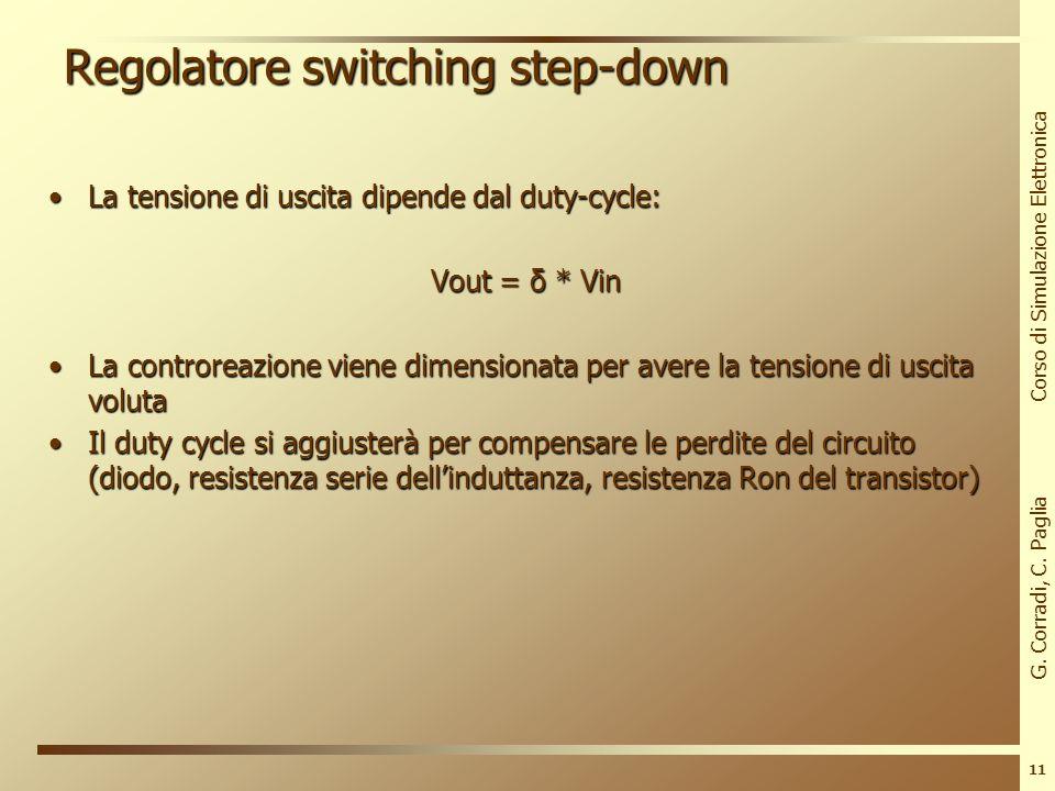 G. Corradi, C. Paglia Corso di Simulazione Elettronica 10 Regolatore switching step-down Corrente nellinduttanza e segnale di controllo (duty cycle de
