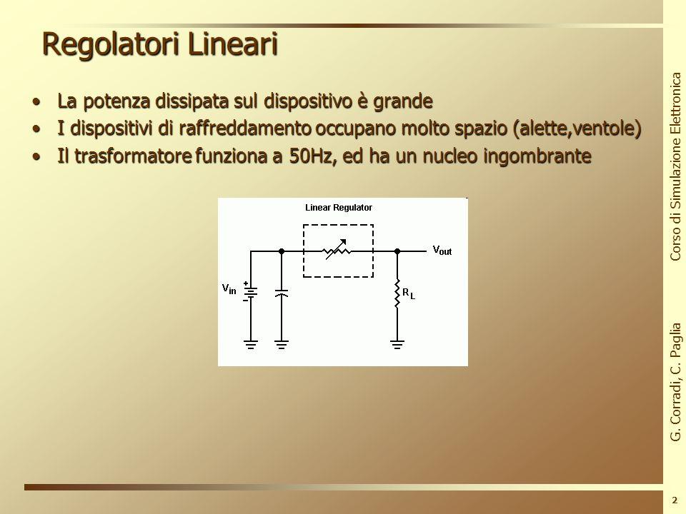 G. Corradi, C. Paglia Corso di Simulazione Elettronica 1 Regolatori Lineari I regolatori di tensione stabilizzano una tensione DCI regolatori di tensi