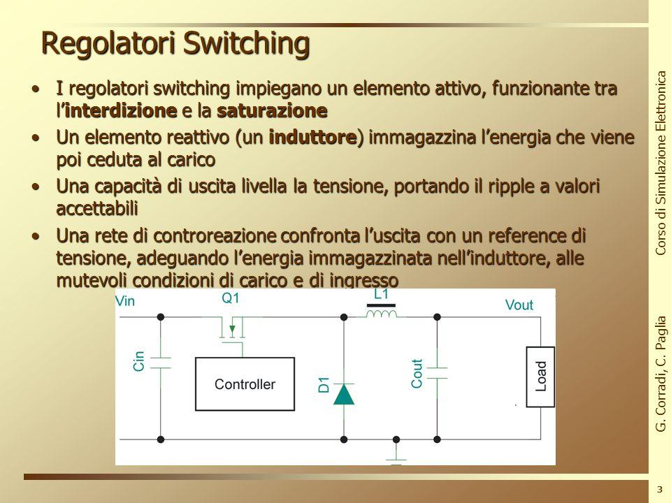 G. Corradi, C. Paglia Corso di Simulazione Elettronica 2 Regolatori Lineari La potenza dissipata sul dispositivo è grandeLa potenza dissipata sul disp