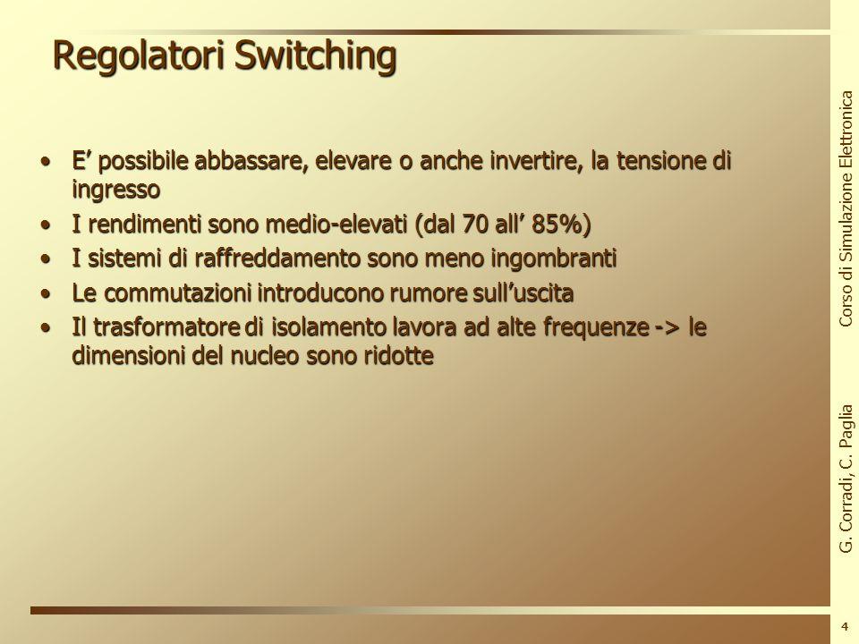 G. Corradi, C. Paglia Corso di Simulazione Elettronica 3 Regolatori Switching I regolatori switching impiegano un elemento attivo, funzionante tra lin