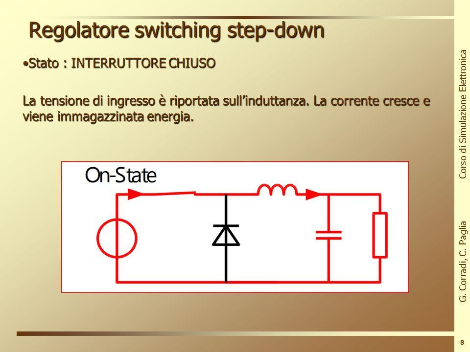 G. Corradi, C. Paglia Corso di Simulazione Elettronica 7 Regolatore switching step-down Vogliamo convertire una tensione da 10V a 5V, per alimentare u