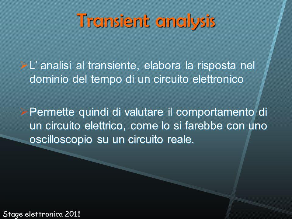 L analisi al transiente, elabora la risposta nel dominio del tempo di un circuito elettronico L analisi al transiente, elabora la risposta nel dominio