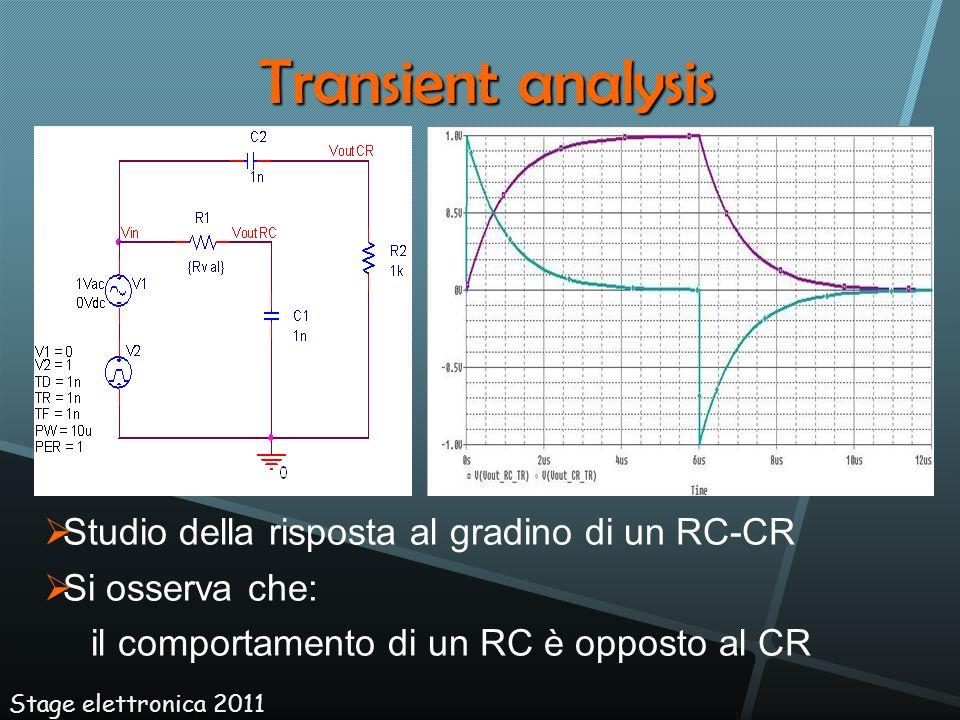 Stage elettronica 2011 Transient analysis Studio della risposta al gradino di un RC-CR Si osserva che: il comportamento di un RC è opposto al CR