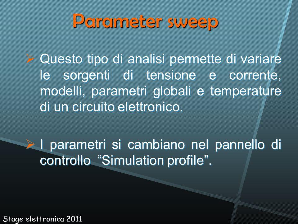 Questo tipo di analisi permette di variare le sorgenti di tensione e corrente, modelli, parametri globali e temperature di un circuito elettronico. Qu
