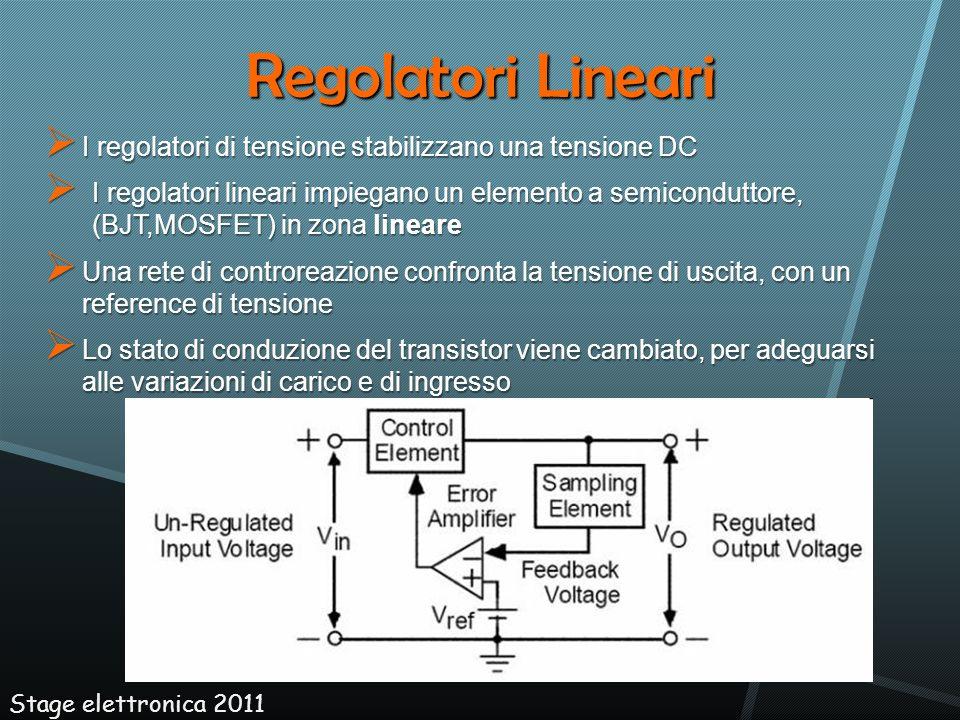 Regolatori Lineari I regolatori di tensione stabilizzano una tensione DC I regolatori di tensione stabilizzano una tensione DC I regolatori lineari im