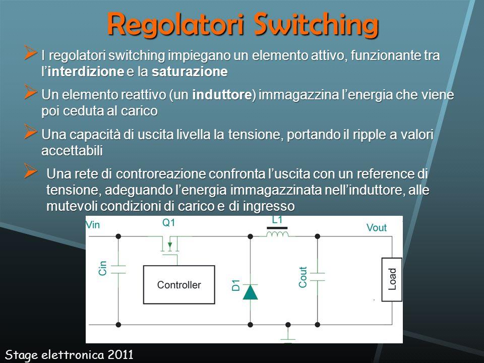 Regolatori Switching I regolatori switching impiegano un elemento attivo, funzionante tra linterdizione e la saturazione I regolatori switching impieg