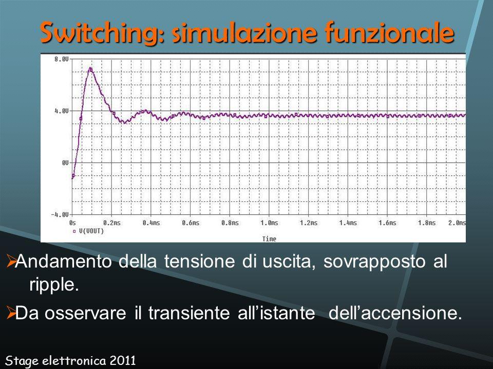 Switching: simulazione funzionale Stage elettronica 2011 Andamento della tensione di uscita, sovrapposto al ripple. Da osservare il transiente allista